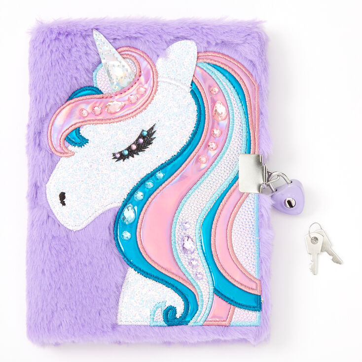 Miss Glitter the Unicorn Soft Lock Diary - Purple,
