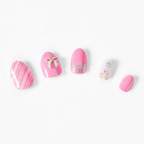 Faux ongles stiletto cadeau rose- Lot de 24,