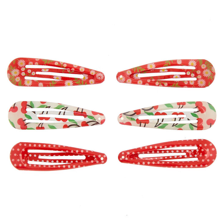Claire's Club Snap Hair Clips - Red, 6 Pack,