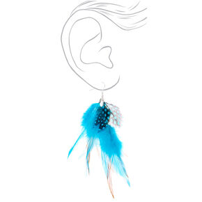 "Silver 4.5"" Boho Feather Drop Earrings - Turquoise,"