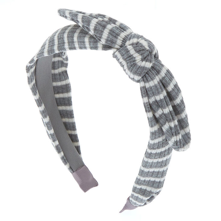 Ribbed Striped Knotted Bow Headband - Gray,