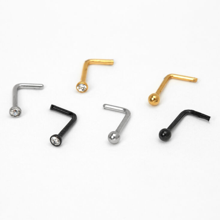 Mixed Metal 20G Crystal Ball Nose Studs - 6 Pack,