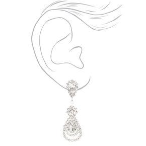 """Silver 1.5"""" Rhinestone Teardrop Clip On Drop Earrings,"""