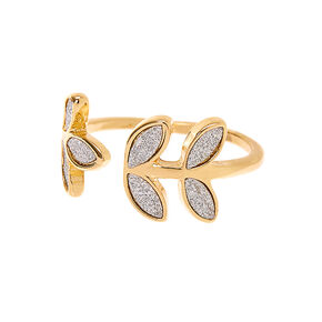 Gold Glitter Leaf Ring,