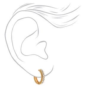Boucles d'oreilles huggies décorées 10mm couleur dorée,