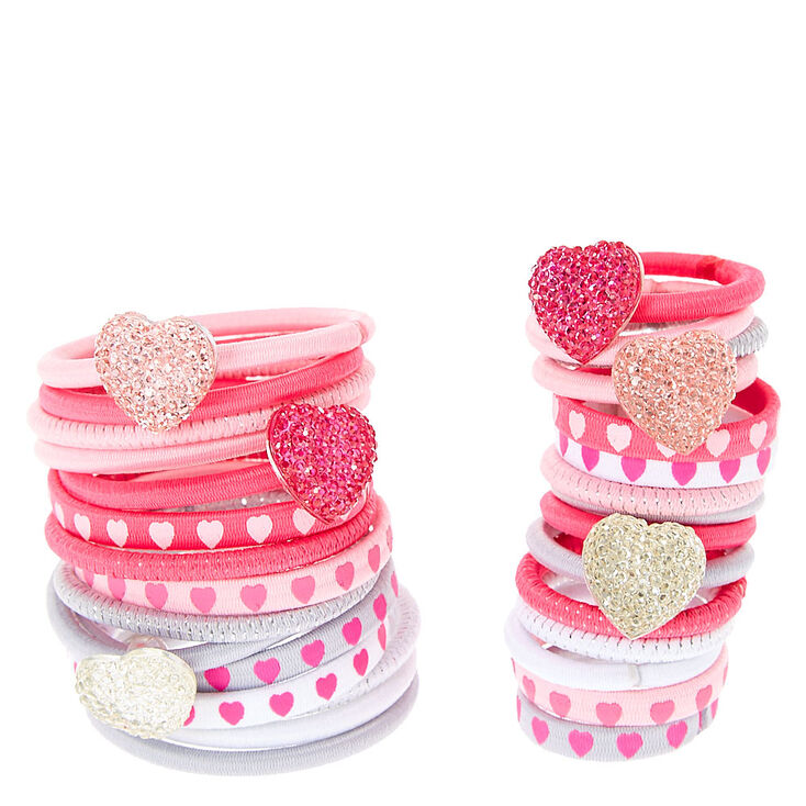 Claire's Club Heart Hair Ties - Pink, 30 Pack,