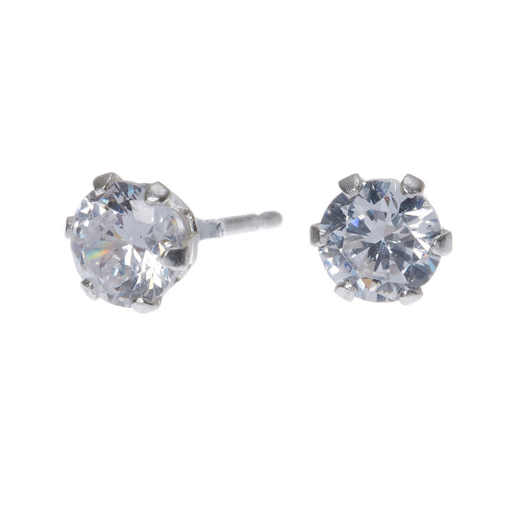 Sterling Silver Cubic Zirconia Round Stud Earrings - 5MM,