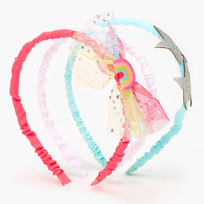 Claire's Club Glitter & Rainbow Tulle Headbands - 3 Pack,