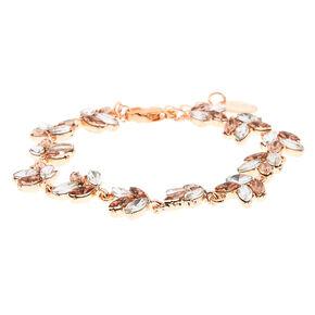 Bracelet feuille avec pierre en strass en métal couleur doré rose,