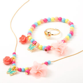Claire's Club Roses & Butterflies Rainbow Beaded Jewelry Set - 3 Pack,