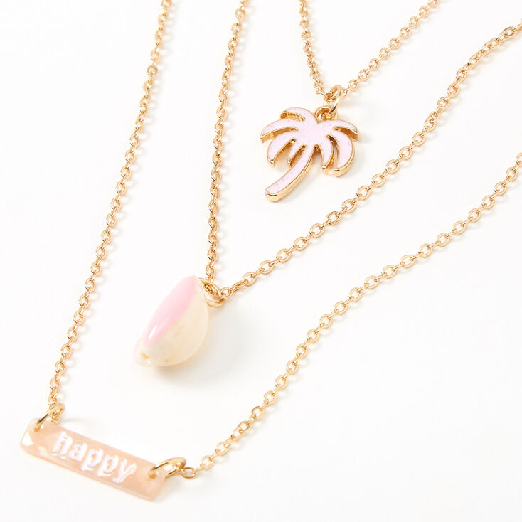 Sky Brown™ Gold Palm Tree Multi Strand Choker Necklace – Pink, 3 Pack,