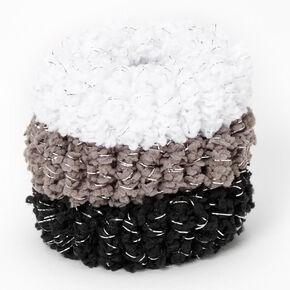 Black, White & Gray Plush Lurex Hair Ties - 3 Pack,