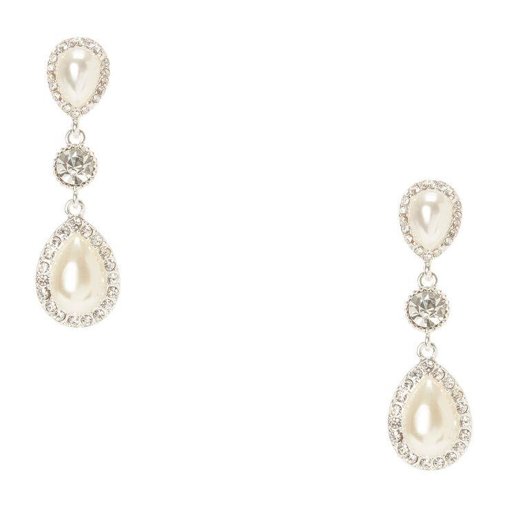 Crystal Framed Teardrop Pearls Drop Earrings,