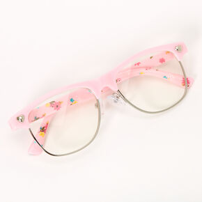 Claire's Club Retro Floral Clear Lens Frames - Pink,