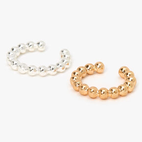 Mixed Metal Ball Studded Ear Cuffs - 2 Pack,