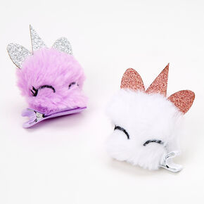 Claire's Club Unicorn Pom Hair Clips - 2 Pack,