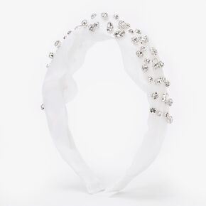 Rhinestone Studded Headband - White,