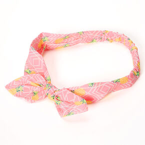 Neon Pineapple Knotted Bow Headwrap - Pink,