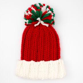 Holiday Pom Pom Knit Beanie - Red,