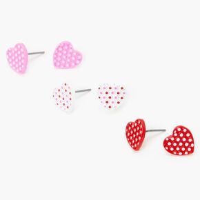 Polka Dot Heart Stud Earrings - 3 Pack,