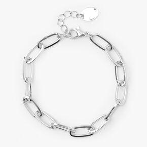 Bracelet maillons de chaîne trombones couleur argentée,