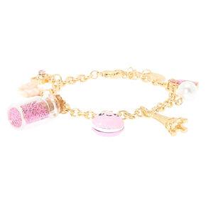 Bracelet couleur doré à breloques roses motif Paris,