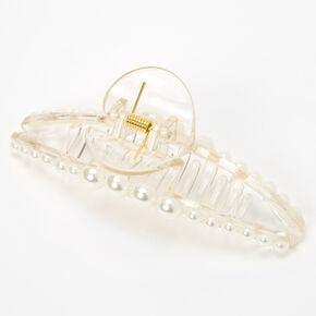 Pince à cheveux fine transparente avec perles d'imitation incrustées,