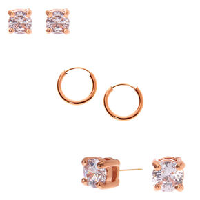 Go to Product: 18kt Rose Gold Plated Cubic Zirconia Stud & Hoop Earring Set - 3 Pack from Claires