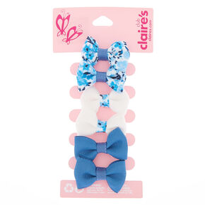Claire's Club Bow Hair Clips - Blue, 6 Pack,