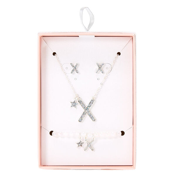 Claire's - iridescent glitter initial letter x jewelry gift set - 1