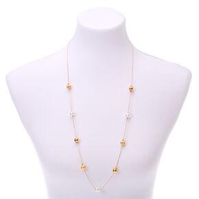 Long collier perlé couleur dorée - Couleur ivoire,