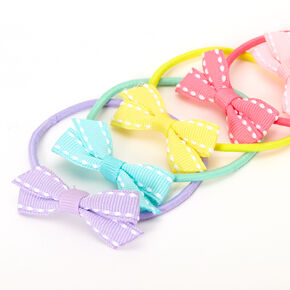 Claire's Club Dotted Pastel Bow Hair Bobbles - 6 Pack,
