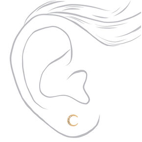 Gold Half Moon Stud Earrings,