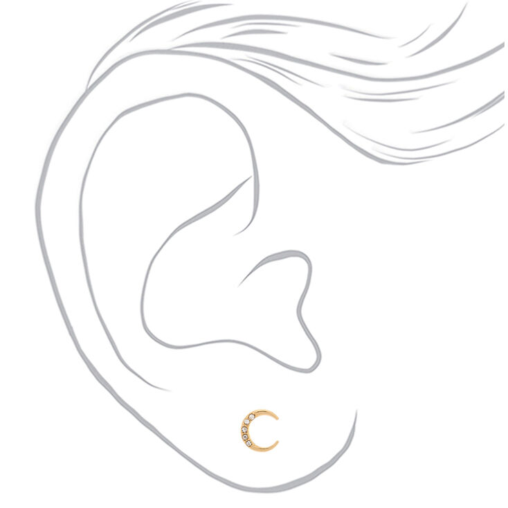 Gold Half Moon Stud Earrings,