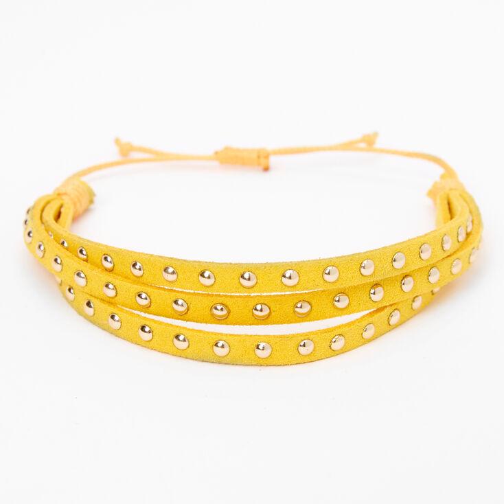 Gold Studded Adjustable Bracelet - Yellow,