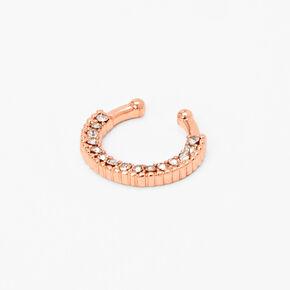 Faux anneau de nez avec strass couleur doré rose,