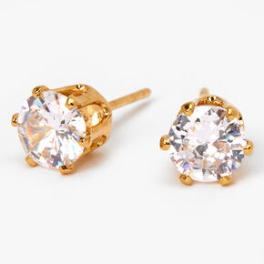 18kt Gold Plated Cubic Zirconia Cupcake Stud Earrings - 6MM,