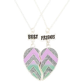 Best Friends Glitter Chevron Pendant Necklaces - 2 Pack,