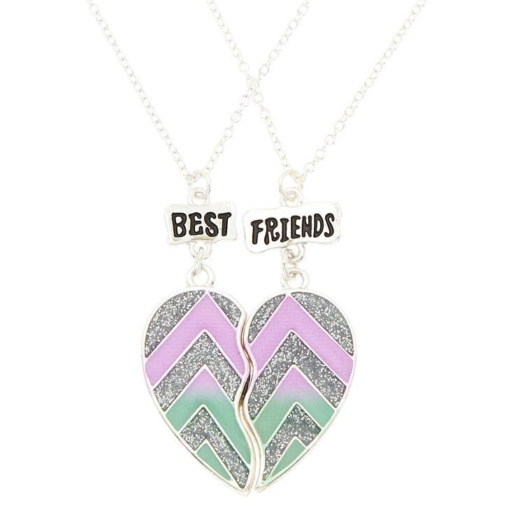 Best Friends Glitter Chevron Pendant Necklaces - 2 Pack,