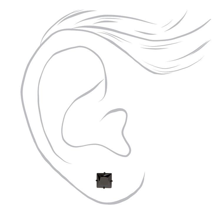 Black Titanium Cubic Zirconia Square Stud Earrings - 5MM,