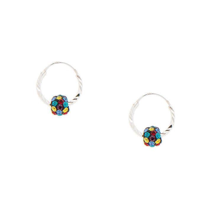 Sterling Silver 10MM Rainbow Fireball Hoop Earrings,