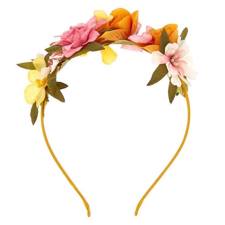 Spring Floral Garland Headband - Mustard,