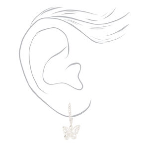 Silver Cubic Zirconia Textured Butterfly Jewellery Set - 2 Pack,