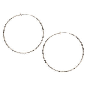 Silver 50MM Textured Clip On Hoop Earrings,