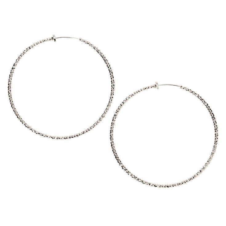 Silver 50MM Textured Clip On Hoop Earrings,