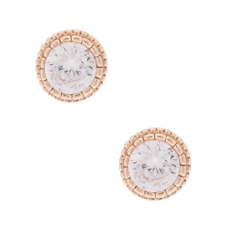 Rose Gold Cubic Zirconia Round Vintage Stud Earrings - 5MM,