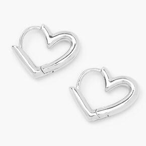 Silver 15MM Tube Heart Huggie Hoop Earrings,