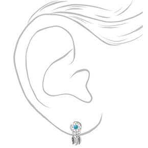 Silver Dreamcatcher Stud Earrings - Turquoise,