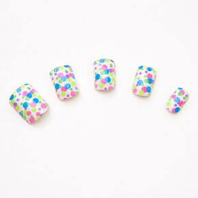Rainbow Polka Dot Square Press On Faux Nail Set - 24 Pack,