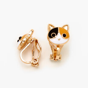 Calico Cat Clip On Earrings - Gold,